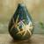 Celadon ceramic vase, 'Dragonfly Orchids' - Celadon Ceramic Vase Handcrafted in Green and Brown thumbail