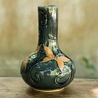 Celadon vase, 'Forest Butterflies' - Dark Green Glazed Celadon Vase Crafted by Hand