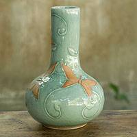 Celadon vase, 'Sky Blue Butterflies' - Classic Thai Glazed Celadon Vase Crafted by Hand