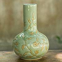 Celadon vase, 'Jungle Blooms' - Glazed Celadon Vase Crafted by Hand in Thailand