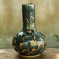 Celadon ceramic vase, 'Forest Blooms' - Hand Crafted Celadon Vase