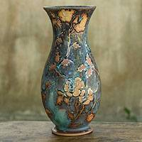 Ceramic vase, 'Classic Rose' - Turquoise Ceramic Vase Crafted by Hand from Thailand