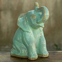 Celadon ceramic statuette, 'Mint Elephant Welcome' - Handcrafted Celadon Ceramic Sculpture