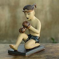 Ceramic figurine, 'Muay Thai Greeting II' - Terracotta Figurine with Glazed Details from Thailand