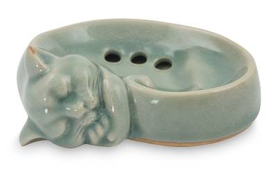 Celadon ceramic soap dish, 'Light Blue Napping Kitty' - Celadon Ceramic Soap Dish Crafted by Hand in Thailand
