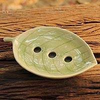Celadon ceramic soap dish, 'Jade Leaf' - Handcrafted Celadon Ceramic Soap Dish from Thailand