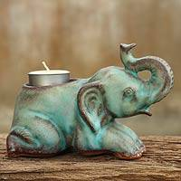 Ceramic tealight holder, 'Reclining Turquoise Elephant' - Celadon Ceramic Tea Light Holder from Thailand
