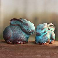 Celadon ceramic figurines, 'Bunny Rabbits' (pair) - 2 Celadon Ceramic Rabbit Figurines in Turquoise