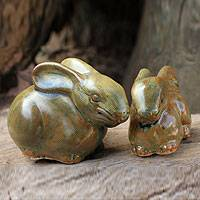 Celadon ceramic figurines, 'Olive Rabbits' (pair) - 2 Celadon Ceramic Rabbit Figurines in Olive Brown