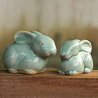 Celadon ceramic figurines, 'Blue Rabbits' (pair) - 2 Celadon Ceramic Rabbit Figurines in Light Blue