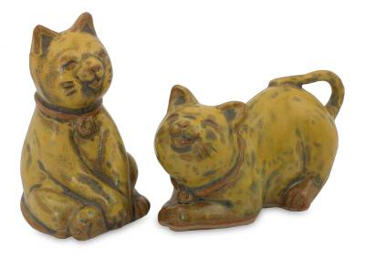 Handcrafted Ceramic Cat Statuettes from Thailand (pair)