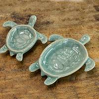 Celadon ceramic bowls, 'Aqua Thai Turtles' (pair)