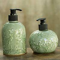 Celadon ceramic soap dispensers, 'Jade Floral' (pair) - Green Celadon Ceramic Liquid Soap Dispensers (Pair)