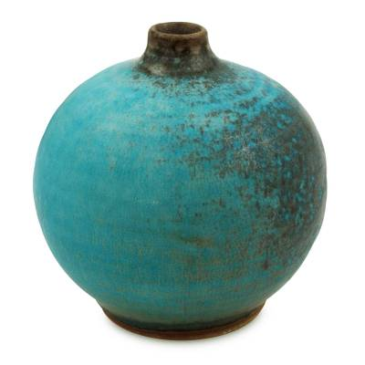 Ceramic vase, 'Turquoise Realm' (large) - Watertight Ceramic Vase Crafted by Hand (large)