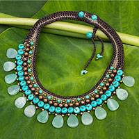 Aventurine choker, 'Fantastic Aqua' - Knitted Choker Necklace with Blue and Green colour Multi-gem