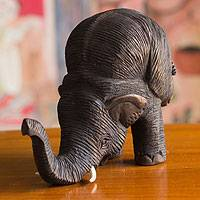 Teakwood sculpture, 'Elephant Headstand' - Rustic Hand Carved Teakwood Acrobatic Elephant Sculpture