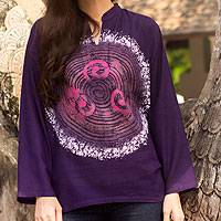 Cotton batik tunic, 'Thai Magic in Purple' - Batik Tie Dye Cotton Tunic Yoga Top Handmade
