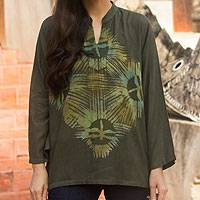 Cotton batik tunic, 'Thai Forest Wind' - Women's Olive Green Cotton Batik Tunic