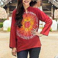 Cotton batik tunic, 'Red Flower Power' - Women's Handcrafted Red Cotton Batik Tunic