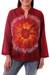 Cotton batik tunic, 'Red Flower Power' - Women's Handcrafted Red Cotton Batik Tunic (image 2a) thumbail