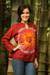 Cotton batik tunic, 'Red Flower Power' - Women's Handcrafted Red Cotton Batik Tunic (image 2b) thumbail