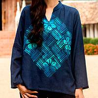 Cotton batik tunic, 'Blue Frangipani Universe' - Handcrafted Batik Cotton Tunic Long Sleeve Blouse