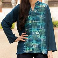 Cotton batik tunic, 'Teal Thai Hibiscus' - 100% Cotton Long Sleeve Tunic with Mandarin Collar and Flora