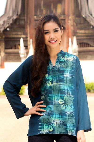 Cotton batik tunic, 'Teal Thai Hibiscus' - 100% Cotton Long Sleeve Tunic with Mandarin Collar and Flora