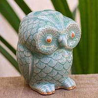 Celadon ceramic figurine, 'Little Blue Owl' - Wide-Eyed Owl with Blue Celadon Glaze from Thailand