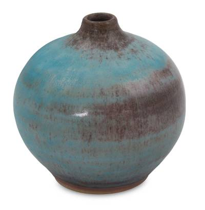 Ceramic bud vase, 'Turquoise Realm' (medium) - Ceramic Bud Vase Crafted by Hand (medium)