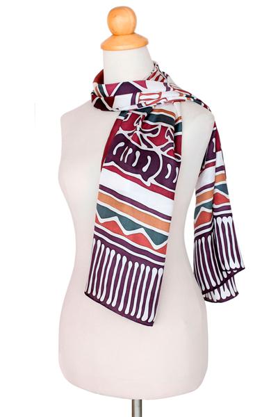 Silk batik scarf, 'Uniquely Purple Lanna' - Batik Silk Scarf Hand Made in Thailand
