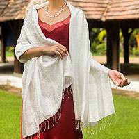 Rayon and silk blend shawl, 'Mandarin Snow'