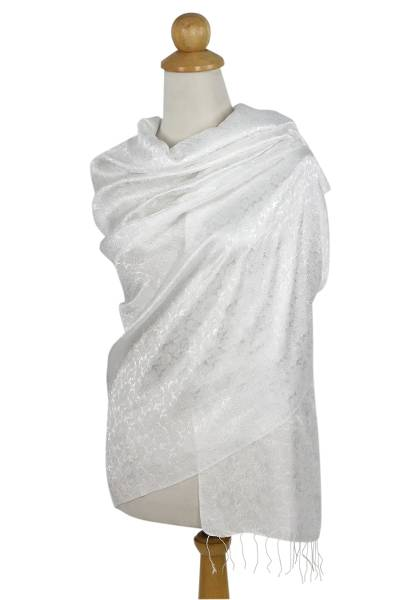 Rayon and silk blend shawl, 'Mandarin Snow' - White Floral Brocade Shawl