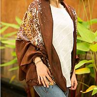Silk batik shawl, 'Fireworks on Brown' - Silk Batik Shawl in Brown and Yellow from Thailand