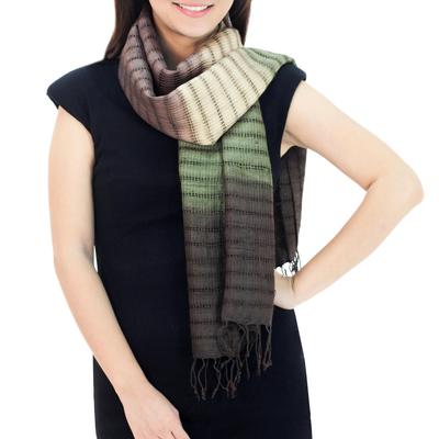 Silk scarf, 'Forest Evolution' - Fair Trade Green and Brown Tie Dye Bark Silk Scarf