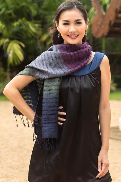 Silk scarf, 'Cool Evolution' - Tie Dye Silk Scarf in Blue and Green