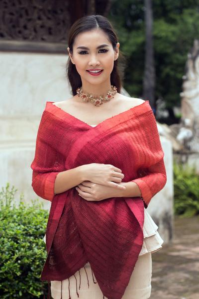 Silk scarf, 'Scarlet Evolution' - Red Ombre Tie Dye Silk Scarf