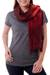 Silk scarf, 'Scarlet Evolution' - Red Ombre Tie Dye Silk Scarf (image 2a) thumbail