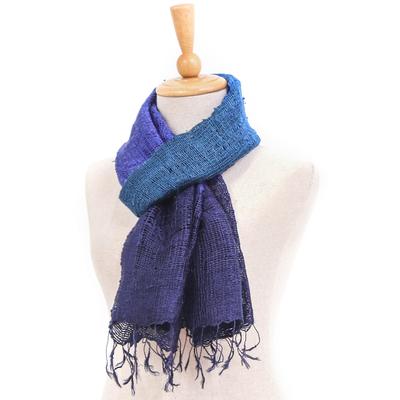 Silk scarf, 'Blues Evolution' - Blue and Purple Tie Dye Thai Silk Scarf