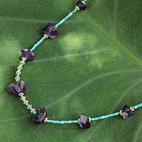 Gold accent amethyst beaded necklace, 'Rock of Ages' - Artisan Crafted Gold Accent Necklace with Amethyst