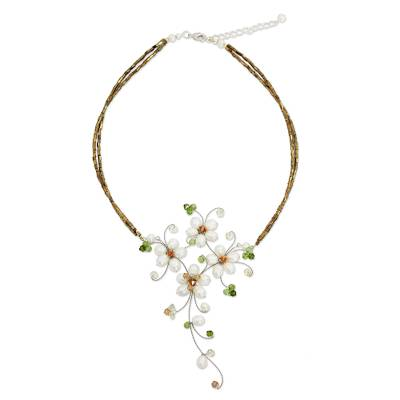 Cultured pearl and peridot flower necklace, 'Refinement' - Handmade White Pearl and Peridot Floral Necklace