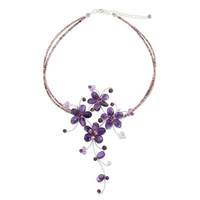 Amethyst and garnet flower necklace, 'Refinement' - Handmade Amethyst and Garnet Floral Necklace