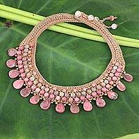 Rhodonite and chalcedony choker, 'Fantastic Pink' - Handcrafted Multigemstone Necklace from Thailand