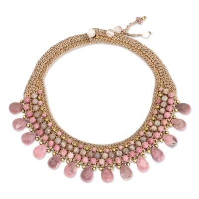 Rhodonite and chalcedony choker, 'Fantastic Pink' - Choker Necklace with Rhodonite and Aventurine