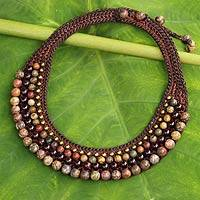 Garnet beaded choker, 'Mystify' - Beaded Crocheted Choker with Garnet and Jasper