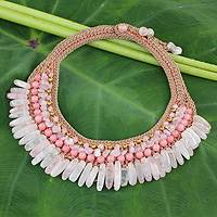 Rose quartz beaded choker, 'Thai Rose' - Rose Quartz Crocheted Choker from Thailand