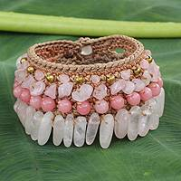 Rose quartz wristband bracelet, 'Thai Rose' - Beaded Crocheted Bracelet with Rose Quartz