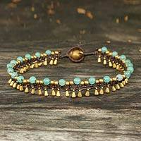 Brass anklet, 'Blue Dancer'