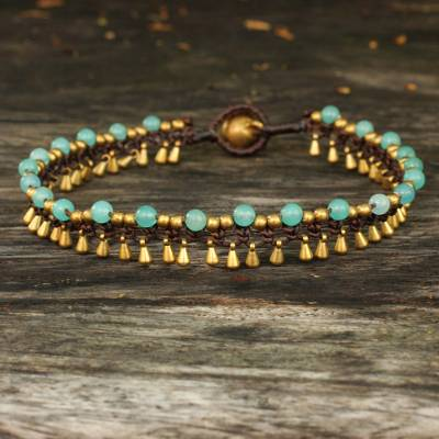 Brass anklet, 'Blue Dancer' - Brass Anklet Blue Quartz Artisan Crafted Jewelry