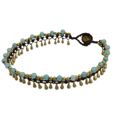 Brass Anklet Blue Quartz Artisan Crafted Jewelry